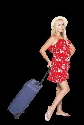 koffer kopen blonde vrouw trolley