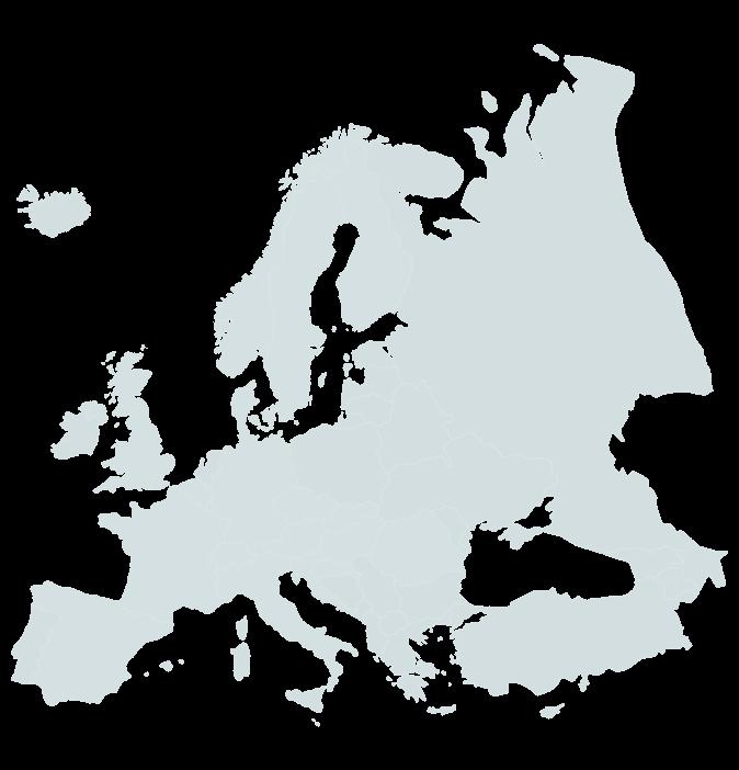 Europa kaart blauwtint